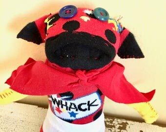 Captain Underpants Art Doll, Sock Puppy, Hand-Stitched, Made from all Reclaimed Clothing, OOAK, Sustainable, Quirky, Whimsical, Plush Toy