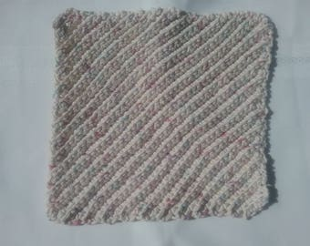Crochet Diagnol Dish Rags-Off White Fleck
