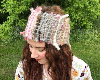 boho headband, dreadlocks headband,beige hand woven headband made of hand spun yarn,with lace, Made in Canada, ONE SIZE