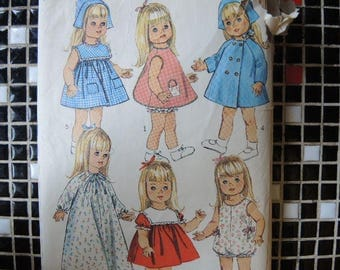 Vintage 1960s Simplicity sewing pattern 6768 doll clothes wardrobe for 18 inch dolls such as susie sunshine baby first step goody two shoes