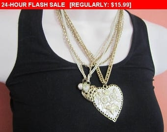 Vintage Multi strand chain enamel heart necklace, retro, hippie