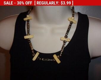 vintage faux bone bead necklace, hippie, boho