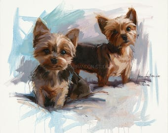 Yorkies Pet Portraits Giclée Fine Art Print