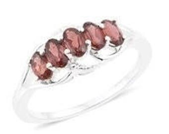 Garnet Ring, Sterling Silver Ring with Stones, Anniversary Ring, Middle Finger Ring