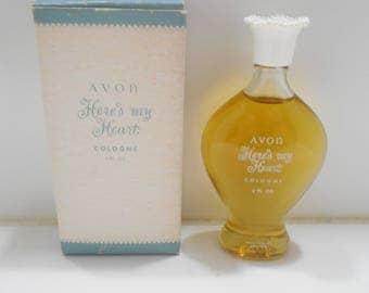 Vintage 1970s Avon Here's My Heart Cologne (15) 2 fl. oz. Splash Bottle--Full Bottle--Original Box