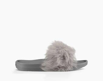 Custom Crystal UGG Australia Royale Silver Gray Toscana Fur Slide Slippers Grey w/ Swarovski Rhinestone Jewel Wedding Flip Flop Slip On Shoe