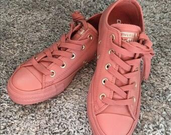 Custom Leather Wedding Converse Blush Rose Gold Tuscany Sun Red w/ Swarovski Crystal Rhinestone Jewel Chuck Taylor II All Star Sneaker Shoes