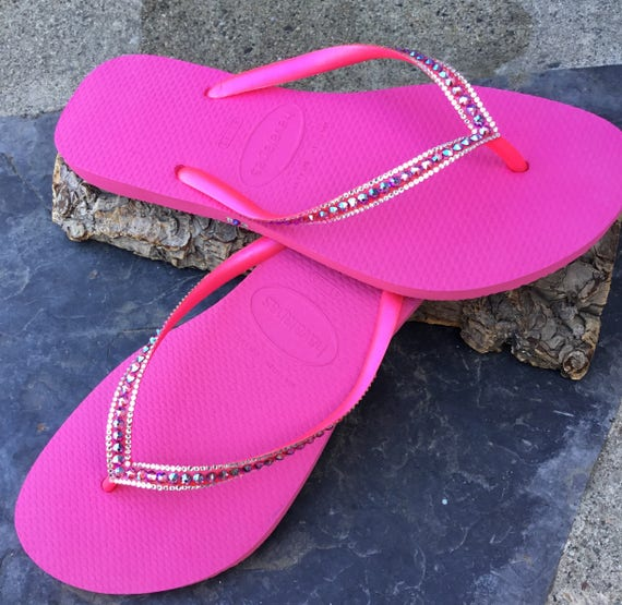 Custom Crystal Fuchsia Havaianas Flip Flops Slim Hot Pink Shimmer Rose w/ Swarovski Rhinestone Bling Beach Bridal Wedding Glass Slipper Shoe