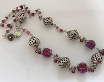 Handmade Lampwork Glass, Tourmaline, and Sterling Silver Wirewrapped Necklace - OOAK