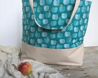 Blue Apple Canvas Bag - Teacher Bag - Lined Tote Bag - Canvas Tote Bag - Teacher Gift -Water Resistent Bag-Laminate Lined Bag-Reuseable Bag