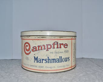 Campfire Marshmallow Tin ~ Metal Tin ~ Vintage Advertising Tin ~ Camping ~ Glamping ~ Epsteam