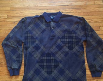 Vintage Nautica Long Sleeve Polo Style Patchwork Shirt