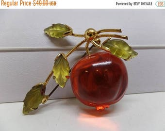 ON SALE Austria Signed Orange Glass Cherry Brooch!