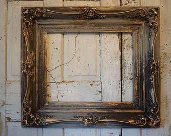 Rustic farmhouse picture frame thick darkened solid wood dramatic painted gray charcoal gold accent wall hanging home decor anita spero