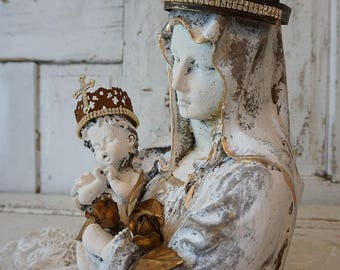 Virgin Mary holding baby statue old cement French Santos style aged painted Madonna bust w/ child embellished crowns anita spero design