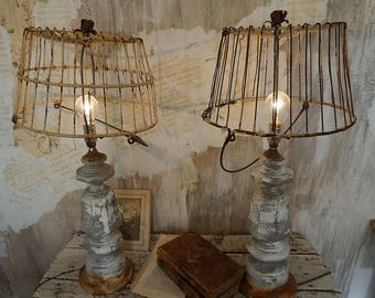 Rustic farmhouse baluster style table lamps distressed rusty gray base mismatched basket lampshade lighting home decor anita spero design