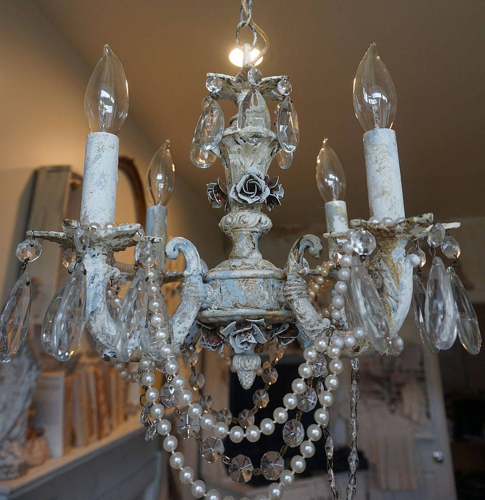 Trendy Chandeliers: Distressed Shabby Chic Chandelier Lighting Roses Decor Rusty