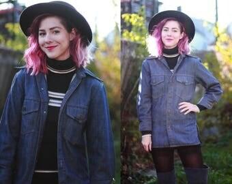 20% OFF Vintage 1970s Sears & Roebuck women's xsmall / small denim jacket / shirt / dark / medium wash denim / jean jacket / top /