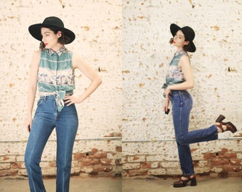 """Vintage 1970s 80s Chic by H.I.S XS 25"""" waist small high waist denim jeans / medium wash mom jeans"""