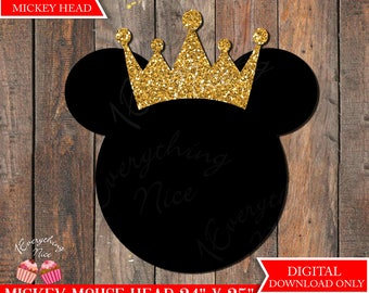 Mickey Mouse Head 24 inches x 25 inches Digital Download