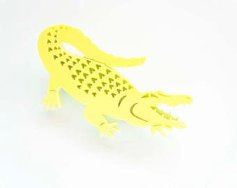 Alligator Brooch. Crocodile pastel yellow and lime statement pin badge, Gift for Her,  Acrylic Laser Cut Brooch. Florida Alligator Brooch.