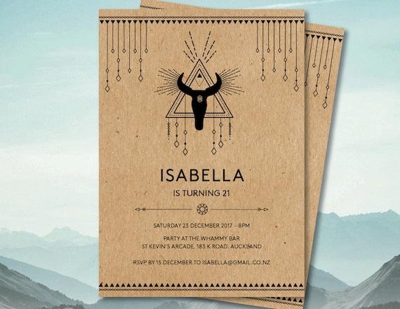 Boho invitation tribal invitation skull invitation template like this item stopboris Image collections