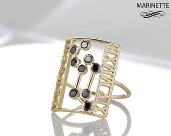 The Constellation ring - solid 14K gold and black diamonds