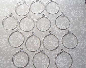 36 Silverplated Charm Holder Hoops with Loop