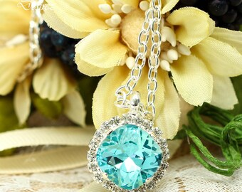Blue Necklace Bridal Necklace Turquoise Necklace Crystal Necklace Swarovski Necklace Bridesmaid Gift Matron Of Honor Gift Wives Gift TQ50N