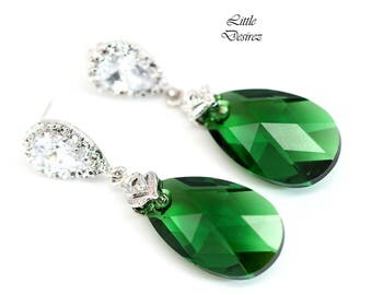 Green Earrings Emerald Earrings Swarovski Crystal Dark Moss Earrings Dark Green Earring Cubic Zirconia Bridesmaid Gift Holiday Jewelry DM32P