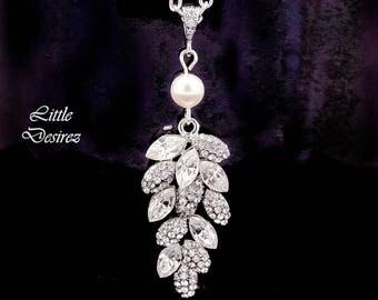 Crystal Leaf Necklace Bridal Necklace Rhinestone Leaf Necklace Swarovski Pearl Cubic Zirconia Wedding Jewelry Leaf Bridal Jewelry MIA