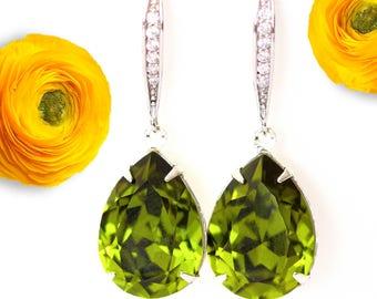 Olive Green Earrings Olivine Swarovski Teardrop Earrings Bridal Earrings Bridesmaid Gift Silver Earrings Sparkly Bridal Party Jewelry OG31H