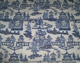 SCHUMACHER CHINOISERIE PAGODA Toile Linen Fabric 10 yards Blue White