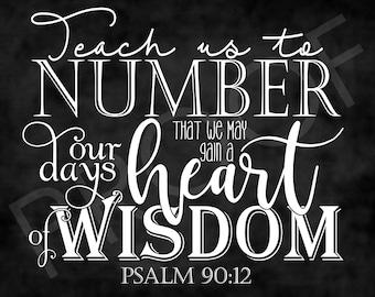 Scripture Art - Psalm 90:12 ~ Chalkboard Style