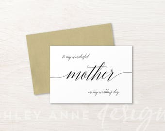 Thank You Mom Wedding, Thank You Mom Card Wedding, To My Mother On My Wedding Day Card, Mother of The Bride Gift, Mother of the Groom Gift
