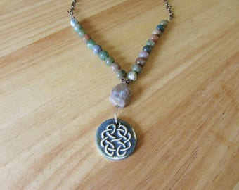 Blue Ceramic Celtic Knot Necklace with Indian Agate and Fancy Jasper
