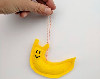 Felt Yellow Banana Slug Ornament Kid Friendly