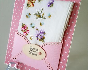 Elegant Embroidered Handkerchief Violas Forget Me Not Pansies Keepsake Birthday Thinking Of You Just Because Wedding Gift Hankie Card
