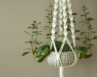 Gardener helper - White Macrame plant hanger with spiral pattern, Green Thumb