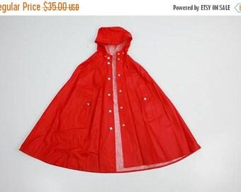 SALE Kids Raincoat / Rukka Raincot / Red Raincoat / Hooded Raincoat / Vintage Raincoat / Rain Coat