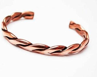 Copper Cuff Bracelet- braided twisted copper bangle