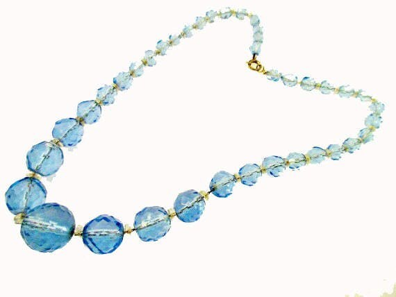 Graduated Bead Necklace Blue facet cut crystal glass Beads sterling silver clasp
