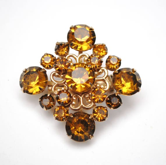 Atomic Diamond Orange Brooch - Amber Rhinestones - gold tone setting - Mid-century  orange crystal Pin