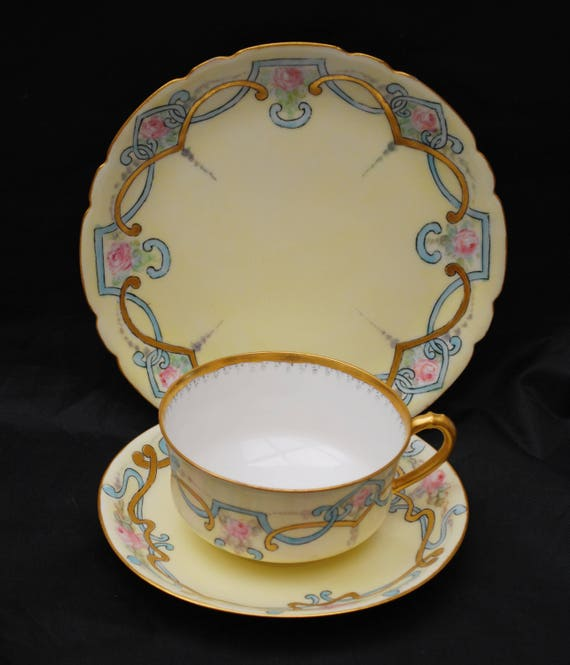 Haviland Limoge Tea cup sauser and bread plate - light yellow blue pink blue - gold trim -  Jean Pouyat -J PL - france - hand painted china