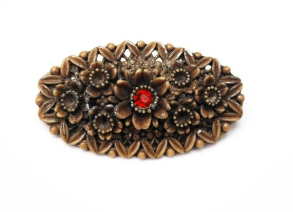 Celluloid Flower Bar Brooch Olive green with red rhinestone pin