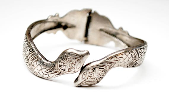 Silver Snake Bracelet - Hinged clamper bangle - Etched Silvertone Serpent cuff bangle