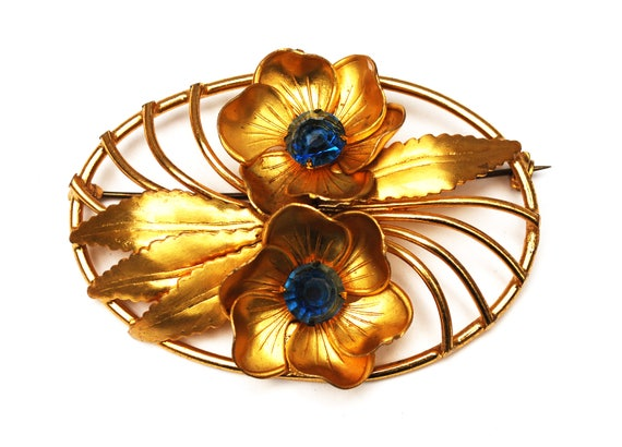 Blue Rhinestone Flower  Brooch - Oval - Gold repousse Leaf - Floral flower pin