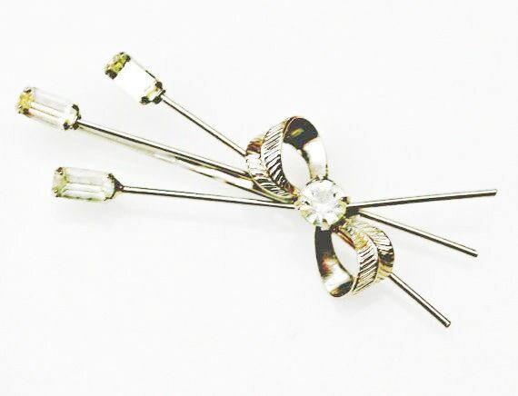 Rhinestone hair clip - silver bling flower barrette - floral bobby pin - Wedding bride