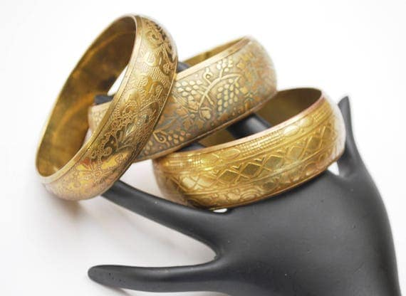 Lot of three  Brass Bangles - chunky Boho Bangle - Flower Etched - gold brass bracelets