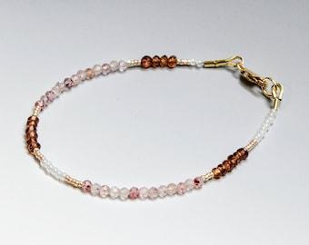 Pink and Red Gemstone Skinny Bracelet, Stacking Bracelet, Multigem Garnet Bracelet, Chic Delicate Bracelet, Genuine Natural Gems, Rose Gold